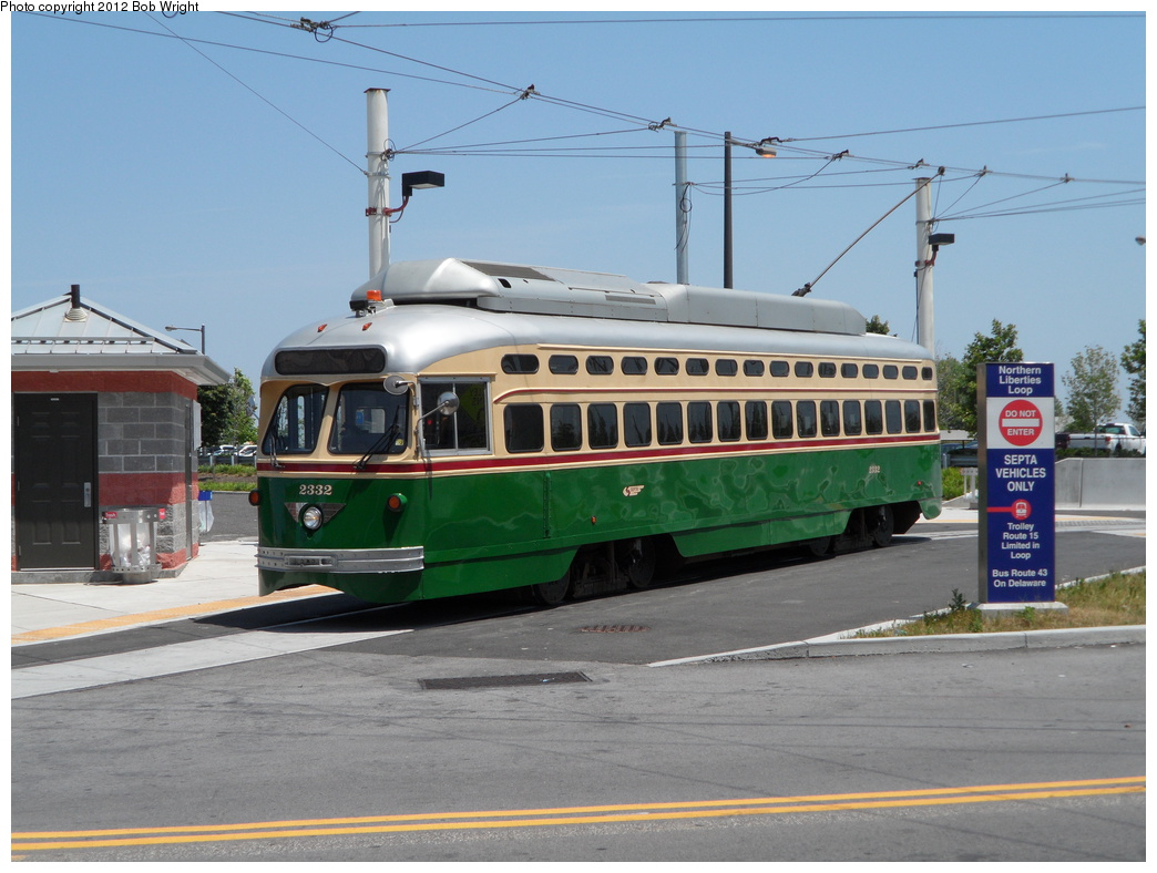 (302k, 1044x788)<br><b>Country:</b> United States<br><b>City:</b> Philadelphia, PA<br><b>System:</b> SEPTA (or Predecessor)<br><b>Line:</b> Rt. 15-Girard<br><b>Location:</b> Northern Liberties Loop (Frankford/Delaware) <br><b>Car:</b> SEPTA PCC-II Rebuild (Brookville Equip., 2003)  2332 <br><b>Photo by:</b> Bob Wright<br><b>Date:</b> 6/30/2012<br><b>Viewed (this week/total):</b> 0 / 494