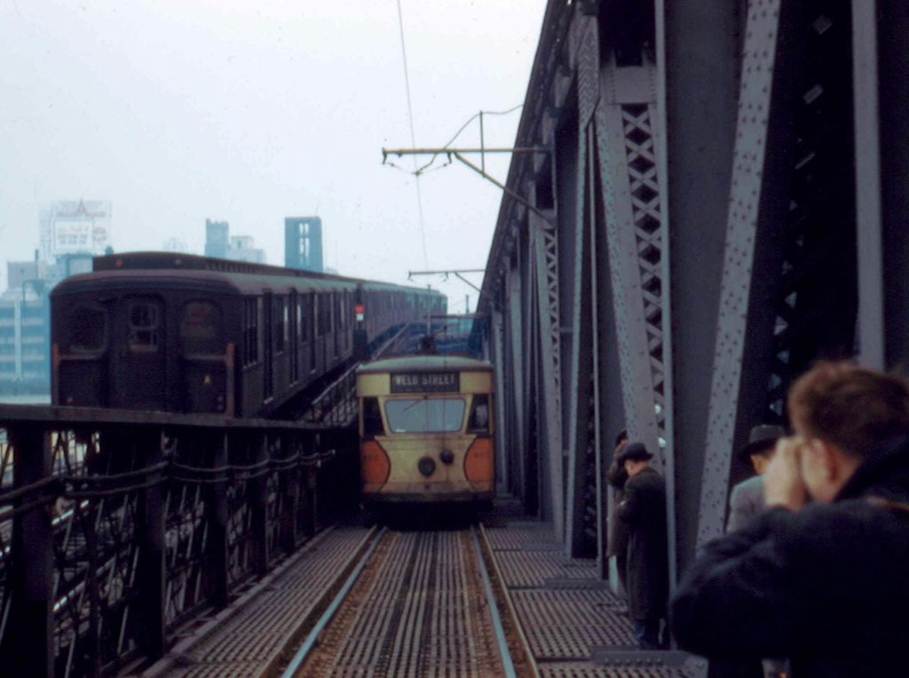 (207k, 1024x764)<br><b>Country:</b> United States<br><b>City:</b> New York<br><b>System:</b> Queensborough Bridge Railway<br><b>Location:</b> Queensborough Bridge <br><b>Car:</b>  602 <br><b>Collection of:</b> Frank Pfuhler<br><b>Date:</b> 2/23/1957<br><b>Notes:</b> With BMT Standards - westbound trolley.<br><b>Viewed (this week/total):</b> 3 / 892