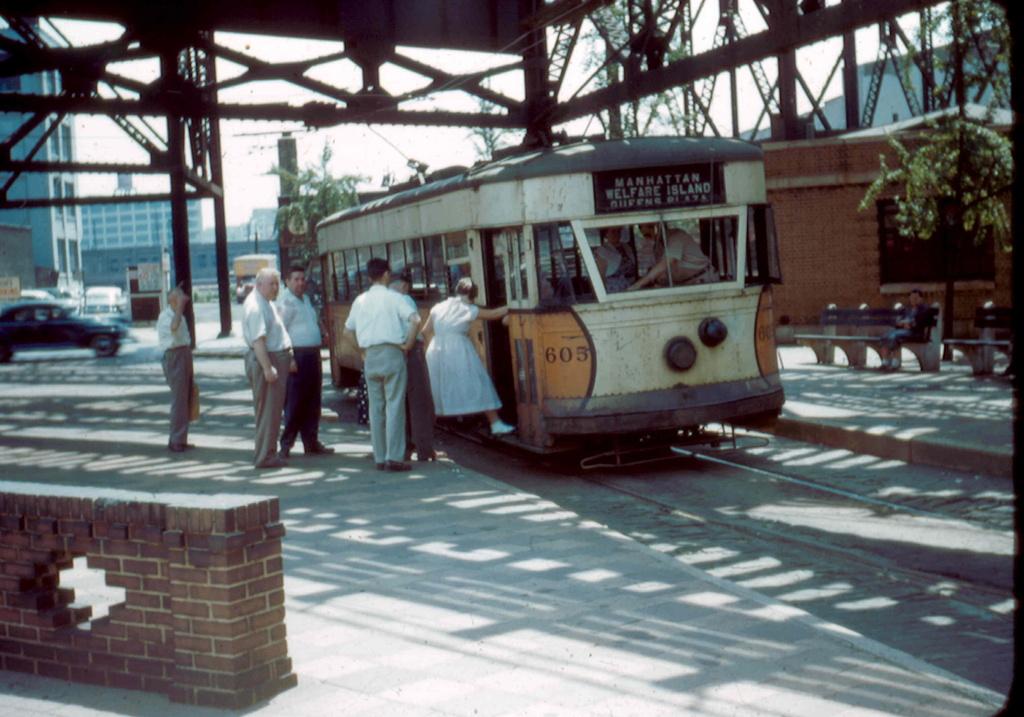 (272k, 1024x717)<br><b>Country:</b> United States<br><b>City:</b> New York<br><b>System:</b> Queensborough Bridge Railway<br><b>Location:</b> Queensborough Plaza <br><b>Car:</b>  605 <br><b>Collection of:</b> Frank Pfuhler<br><b>Date:</b> 7/3/1955<br><b>Viewed (this week/total):</b> 0 / 833