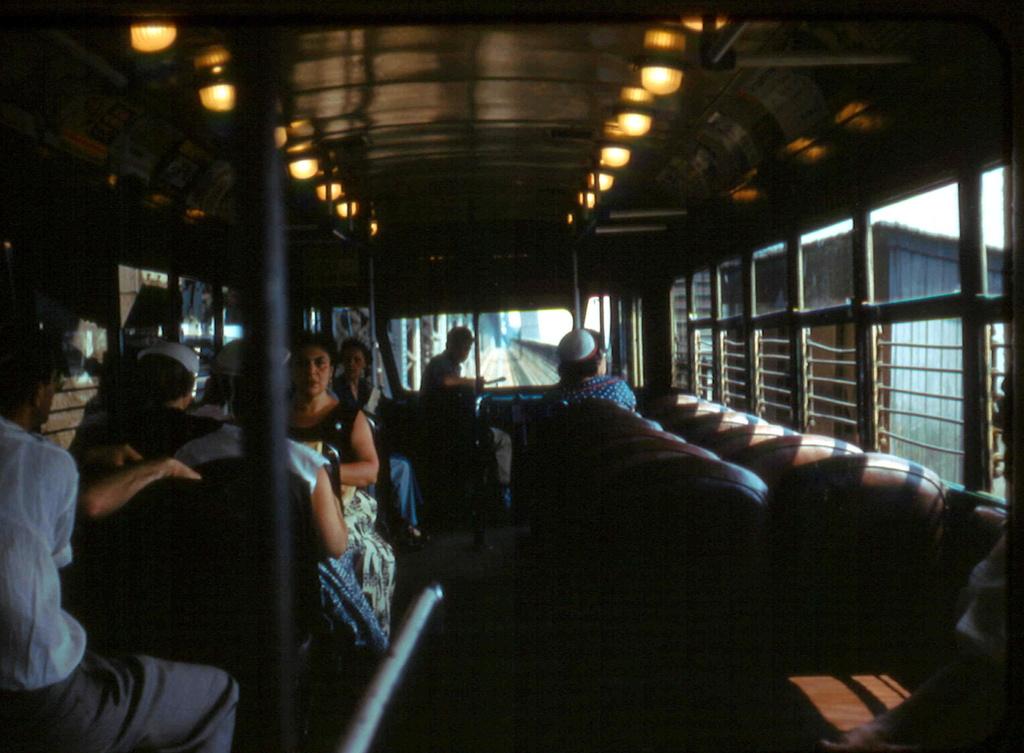 (257k, 1024x753)<br><b>Country:</b> United States<br><b>City:</b> New York<br><b>System:</b> Queensborough Bridge Railway<br><b>Location:</b> Queensborough Bridge <br><b>Car:</b>  606 <br><b>Collection of:</b> Frank Pfuhler<br><b>Date:</b> 7/3/1955<br><b>Notes:</b> Interior<br><b>Viewed (this week/total):</b> 2 / 913