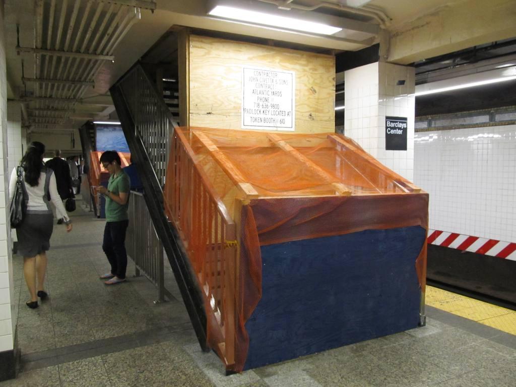 (104k, 1024x768)<br><b>Country:</b> United States<br><b>City:</b> New York<br><b>System:</b> New York City Transit<br><b>Line:</b> BMT Brighton Line<br><b>Location:</b> Atlantic Avenue <br><b>Photo by:</b> Robbie Rosenfeld<br><b>Date:</b> 6/25/2012<br><b>Notes:</b> New stairs and station name plaque.<br><b>Viewed (this week/total):</b> 0 / 1237