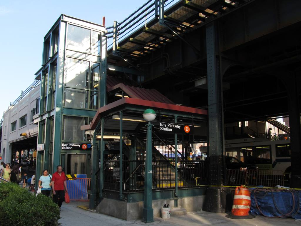(118k, 1024x768)<br><b>Country:</b> United States<br><b>City:</b> New York<br><b>System:</b> New York City Transit<br><b>Line:</b> BMT West End Line<br><b>Location:</b> Bay Parkway <br><b>Photo by:</b> Robbie Rosenfeld<br><b>Date:</b> 7/9/2012<br><b>Notes:</b> Station entrance and new elevator.<br><b>Viewed (this week/total):</b> 1 / 1254