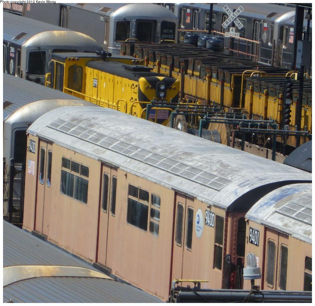 (336k, 1044x1014)<br><b>Country:</b> United States<br><b>City:</b> New York<br><b>System:</b> New York City Transit<br><b>Location:</b> Corona Yard<br><b>Car:</b> R-36 World's Fair (St. Louis, 1963-64) 9400 <br><b>Photo by:</b> Kevin Wong<br><b>Date:</b> 4/19/2012<br><b>Notes:</b> With Locomotive R-77 899<br><b>Viewed (this week/total):</b> 0 / 934