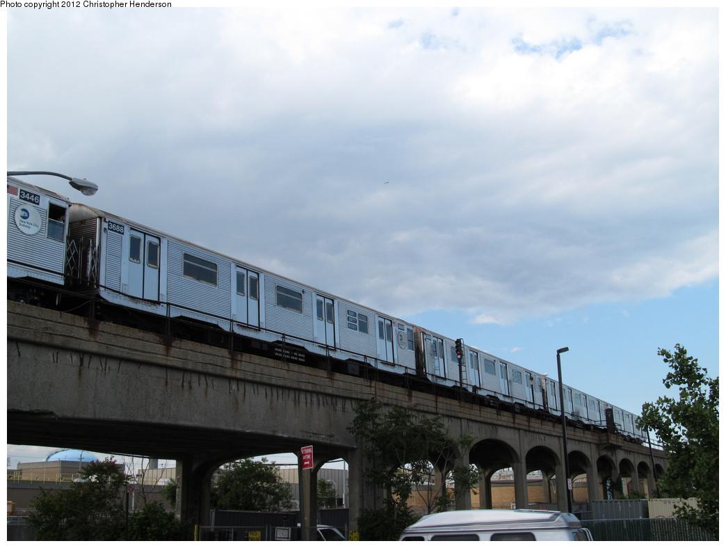 (251k, 1044x788)<br><b>Country:</b> United States<br><b>City:</b> New York<br><b>System:</b> New York City Transit<br><b>Line:</b> IND Rockaway<br><b>Location:</b> Beach 105th Street/Seaside <br><b>Route:</b> A<br><b>Car:</b> R-32 (Budd, 1964)  3688 <br><b>Photo by:</b> Christopher Henderson<br><b>Date:</b> 6/6/2012<br><b>Notes:</b> Between Rockaway Park and Beach 105th.<br><b>Viewed (this week/total):</b> 3 / 1130