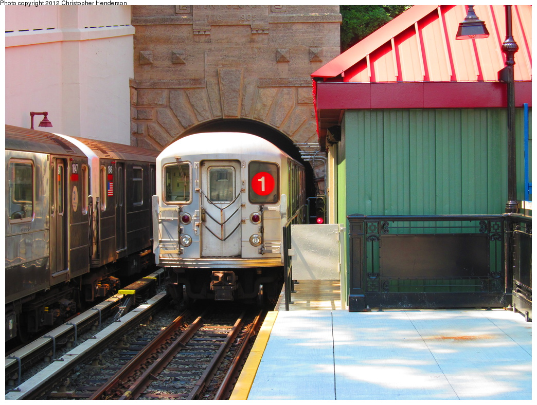 (363k, 1044x788)<br><b>Country:</b> United States<br><b>City:</b> New York<br><b>System:</b> New York City Transit<br><b>Line:</b> IRT West Side Line<br><b>Location:</b> Dyckman Street <br><b>Route:</b> 1<br><b>Car:</b> R-62 (Kawasaki, 1983-1985)  1496 <br><b>Photo by:</b> Christopher Henderson<br><b>Date:</b> 7/17/2012<br><b>Viewed (this week/total):</b> 0 / 1607