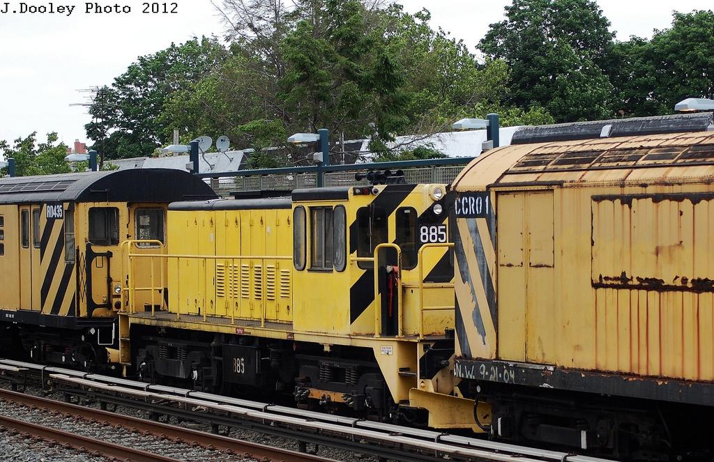(409k, 1024x663)<br><b>Country:</b> United States<br><b>City:</b> New York<br><b>System:</b> New York City Transit<br><b>Line:</b> BMT Brighton Line<br><b>Location:</b> Neck Road <br><b>Route:</b> Work Service<br><b>Car:</b> R-77 Locomotive  885 <br><b>Photo by:</b> John Dooley<br><b>Date:</b> 6/1/2012<br><b>Viewed (this week/total):</b> 0 / 772