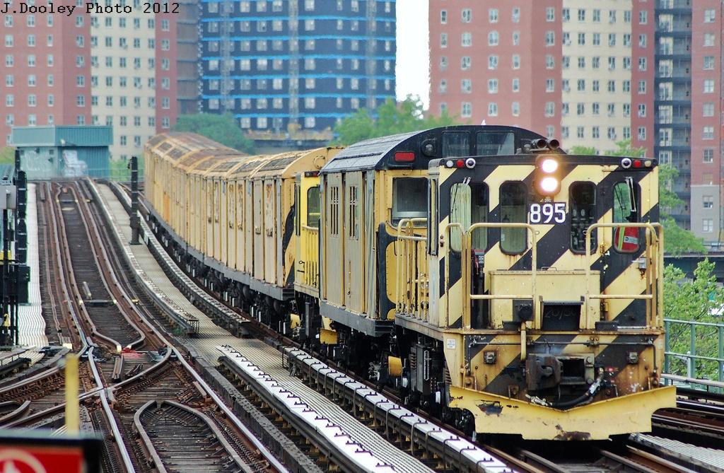 (409k, 1024x669)<br><b>Country:</b> United States<br><b>City:</b> New York<br><b>System:</b> New York City Transit<br><b>Line:</b> BMT Brighton Line<br><b>Location:</b> Ocean Parkway <br><b>Route:</b> Work Service<br><b>Car:</b> R-77 Locomotive  895 <br><b>Photo by:</b> John Dooley<br><b>Date:</b> 6/1/2012<br><b>Viewed (this week/total):</b> 0 / 2189