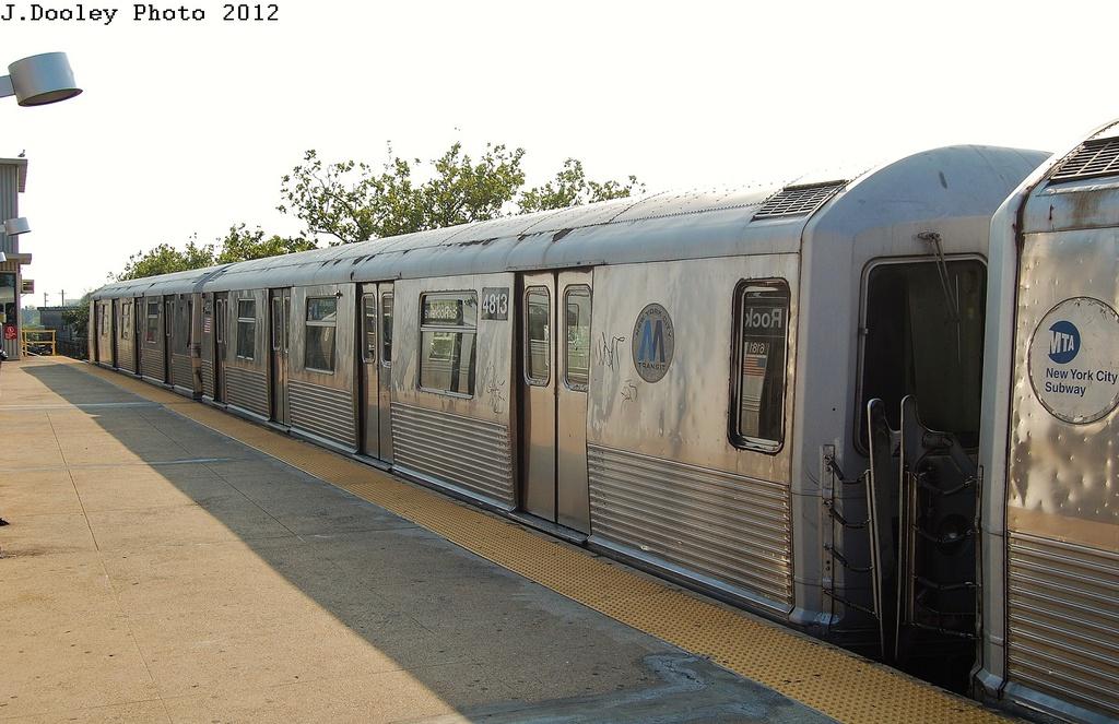 (304k, 1024x663)<br><b>Country:</b> United States<br><b>City:</b> New York<br><b>System:</b> New York City Transit<br><b>Line:</b> IND Rockaway<br><b>Location:</b> Mott Avenue/Far Rockaway <br><b>Route:</b> A<br><b>Car:</b> R-42 (St. Louis, 1969-1970)  4813 <br><b>Photo by:</b> John Dooley<br><b>Date:</b> 7/26/2012<br><b>Viewed (this week/total):</b> 0 / 752