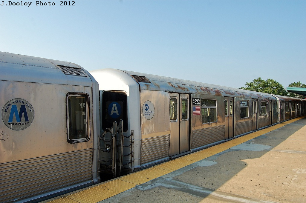 (291k, 1024x680)<br><b>Country:</b> United States<br><b>City:</b> New York<br><b>System:</b> New York City Transit<br><b>Line:</b> IND Rockaway<br><b>Location:</b> Mott Avenue/Far Rockaway <br><b>Route:</b> A<br><b>Car:</b> R-42 (St. Louis, 1969-1970)  4822 <br><b>Photo by:</b> John Dooley<br><b>Date:</b> 7/26/2012<br><b>Viewed (this week/total):</b> 3 / 928