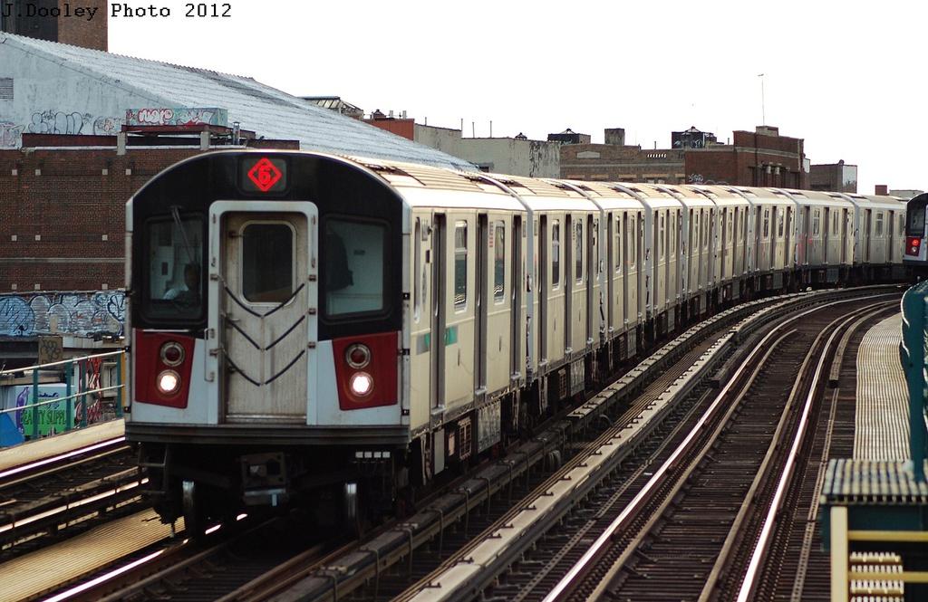 (323k, 1024x665)<br><b>Country:</b> United States<br><b>City:</b> New York<br><b>System:</b> New York City Transit<br><b>Line:</b> IRT Pelham Line<br><b>Location:</b> Morrison/Soundview Aves. <br><b>Route:</b> 6<br><b>Car:</b> R-142 or R-142A (Number Unknown)  <br><b>Photo by:</b> John Dooley<br><b>Date:</b> 2/22/2012<br><b>Viewed (this week/total):</b> 2 / 1108
