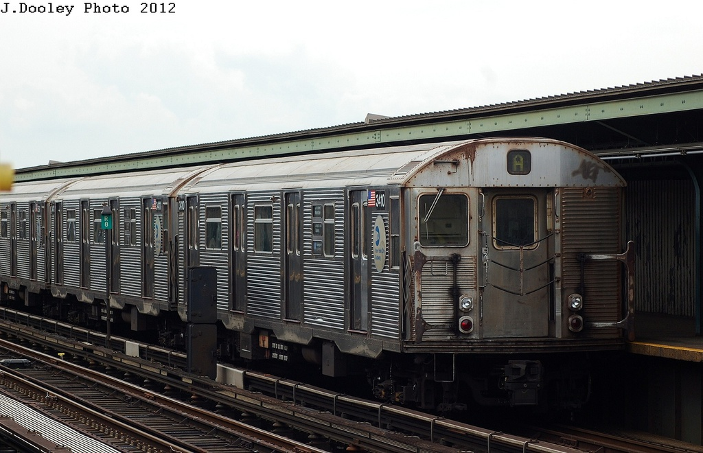 (300k, 1024x660)<br><b>Country:</b> United States<br><b>City:</b> New York<br><b>System:</b> New York City Transit<br><b>Line:</b> IND Fulton Street Line<br><b>Location:</b> 111th Street/Greenwood Avenue <br><b>Route:</b> A<br><b>Car:</b> R-32 (Budd, 1964)  3410 <br><b>Photo by:</b> John Dooley<br><b>Date:</b> 5/30/2012<br><b>Viewed (this week/total):</b> 0 / 921