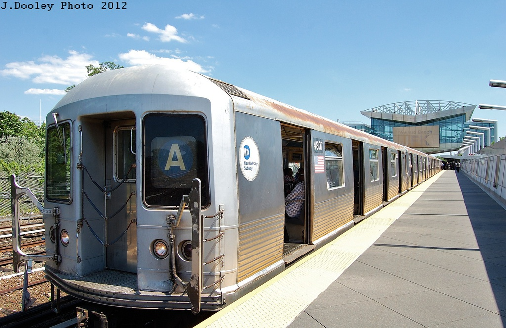 (323k, 1024x665)<br><b>Country:</b> United States<br><b>City:</b> New York<br><b>System:</b> New York City Transit<br><b>Line:</b> IND Rockaway<br><b>Location:</b> Howard Beach <br><b>Route:</b> S<br><b>Car:</b> R-42 (St. Louis, 1969-1970)  4807 <br><b>Photo by:</b> John Dooley<br><b>Date:</b> 5/31/2012<br><b>Viewed (this week/total):</b> 2 / 2216