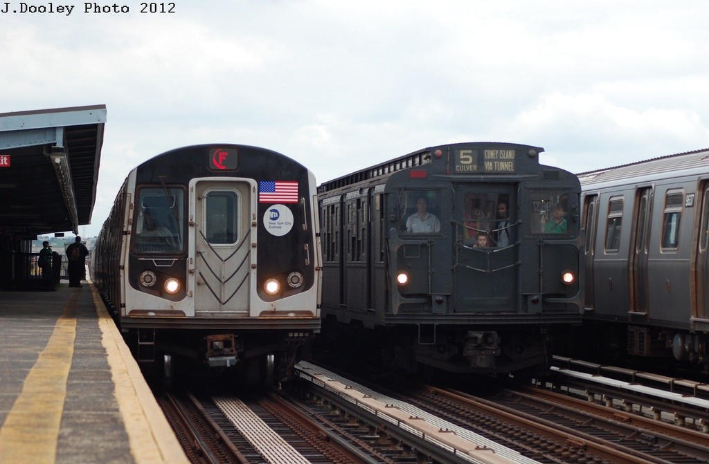 (242k, 1024x671)<br><b>Country:</b> United States<br><b>City:</b> New York<br><b>System:</b> New York City Transit<br><b>Line:</b> BMT Culver Line<br><b>Location:</b> Bay Parkway (22nd Avenue) <br><b>Route:</b> Transit Museum Nostalgia Train<br><b>Car:</b> R-9 (Pressed Steel, 1940)  1802 <br><b>Photo by:</b> John Dooley<br><b>Date:</b> 7/29/2012<br><b>Viewed (this week/total):</b> 1 / 1194