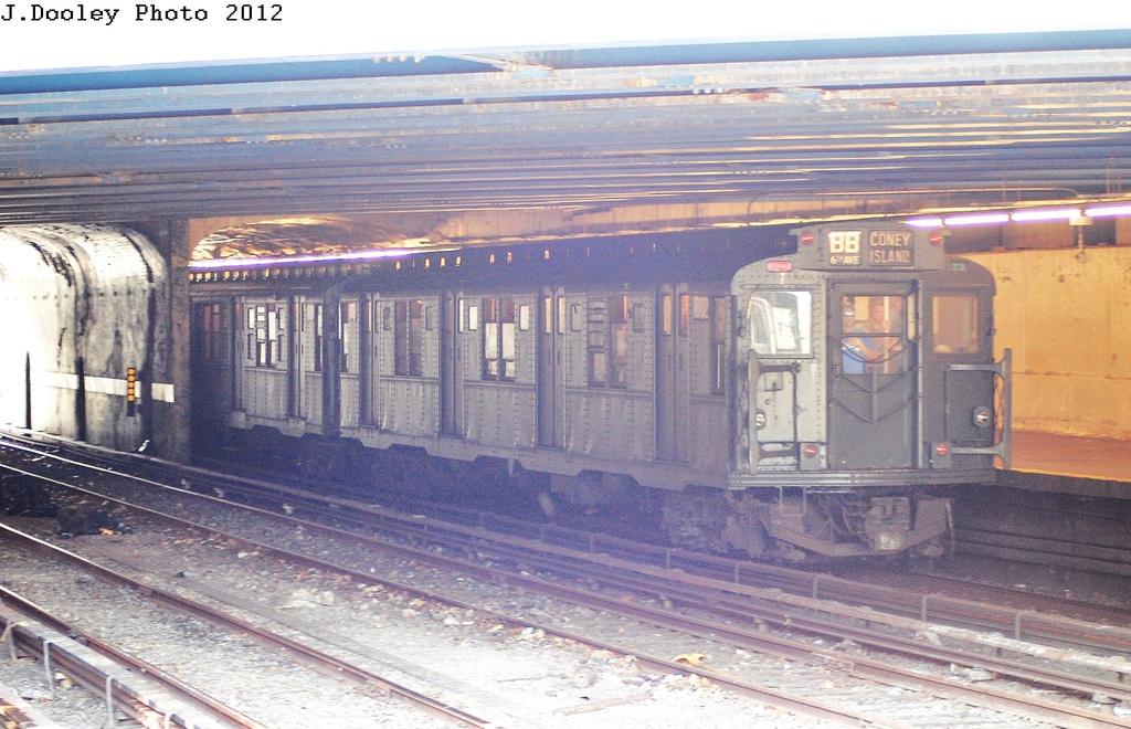 (351k, 1024x660)<br><b>Country:</b> United States<br><b>City:</b> New York<br><b>System:</b> New York City Transit<br><b>Line:</b> BMT Sea Beach Line<br><b>Location:</b> 86th Street <br><b>Route:</b> Transit Museum Nostalgia Train<br><b>Car:</b> R-9 (Pressed Steel, 1940)  1802 <br><b>Photo by:</b> John Dooley<br><b>Date:</b> 7/29/2012<br><b>Viewed (this week/total):</b> 1 / 1329