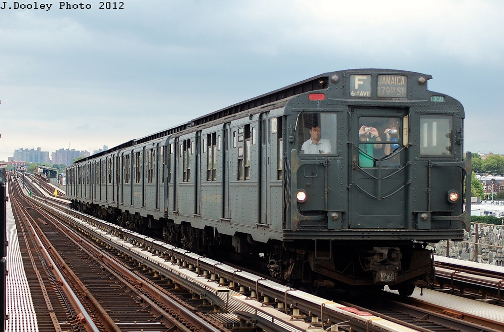 (334k, 1024x675)<br><b>Country:</b> United States<br><b>City:</b> New York<br><b>System:</b> New York City Transit<br><b>Line:</b> BMT Culver Line<br><b>Location:</b> Bay Parkway (22nd Avenue) <br><b>Route:</b> Transit Museum Nostalgia Train<br><b>Car:</b> R-9 (Pressed Steel, 1940)  1802 <br><b>Photo by:</b> John Dooley<br><b>Date:</b> 7/29/2012<br><b>Viewed (this week/total):</b> 0 / 1168