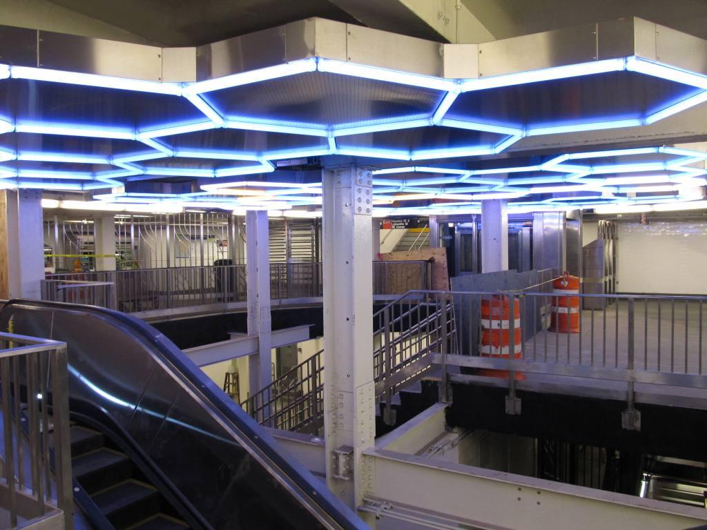 (116k, 1024x768)<br><b>Country:</b> United States<br><b>City:</b> New York<br><b>System:</b> New York City Transit<br><b>Line:</b> IRT East Side Line<br><b>Location:</b> Bleecker Street <br><b>Photo by:</b> Robbie Rosenfeld<br><b>Date:</b> 7/22/2012<br><b>Artwork:</b> <i>Hive</i>, Leo Villareal (2012).<br><b>Viewed (this week/total):</b> 7 / 2435