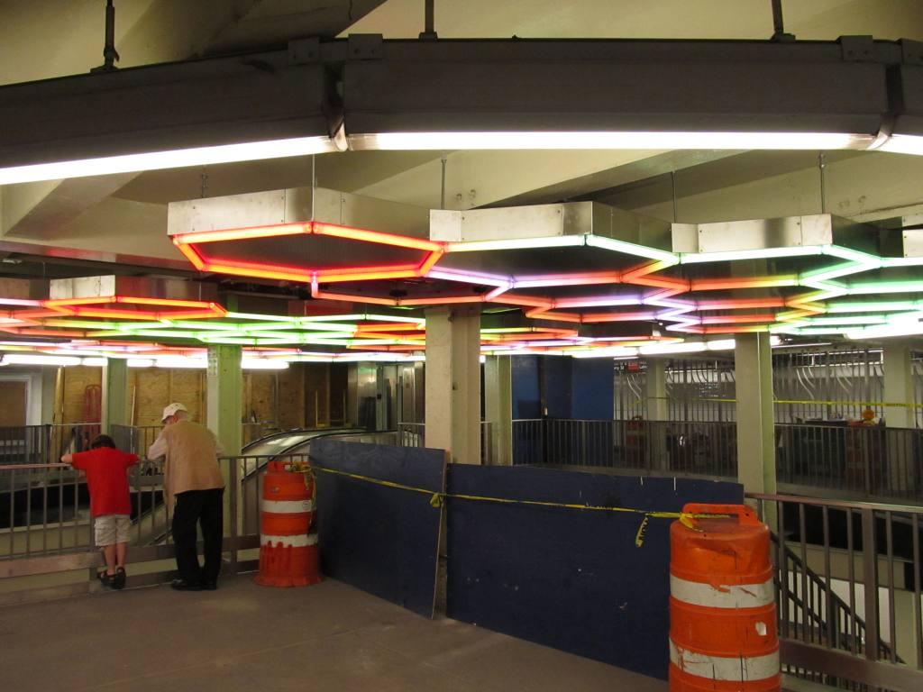 (98k, 1024x768)<br><b>Country:</b> United States<br><b>City:</b> New York<br><b>System:</b> New York City Transit<br><b>Line:</b> IRT East Side Line<br><b>Location:</b> Bleecker Street <br><b>Photo by:</b> Robbie Rosenfeld<br><b>Date:</b> 7/22/2012<br><b>Artwork:</b> <i>Hive</i>, Leo Villareal (2012).<br><b>Viewed (this week/total):</b> 0 / 2023