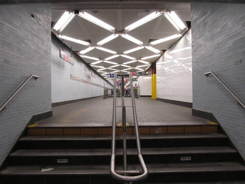 (98k, 1024x768)<br><b>Country:</b> United States<br><b>City:</b> New York<br><b>System:</b> New York City Transit<br><b>Line:</b> IRT East Side Line<br><b>Location:</b> Fulton Street <br><b>Photo by:</b> Robbie Rosenfeld<br><b>Date:</b> 7/17/2012<br><b>Notes:</b> Passageway to Fulton St Transit Center.<br><b>Viewed (this week/total):</b> 5 / 1525