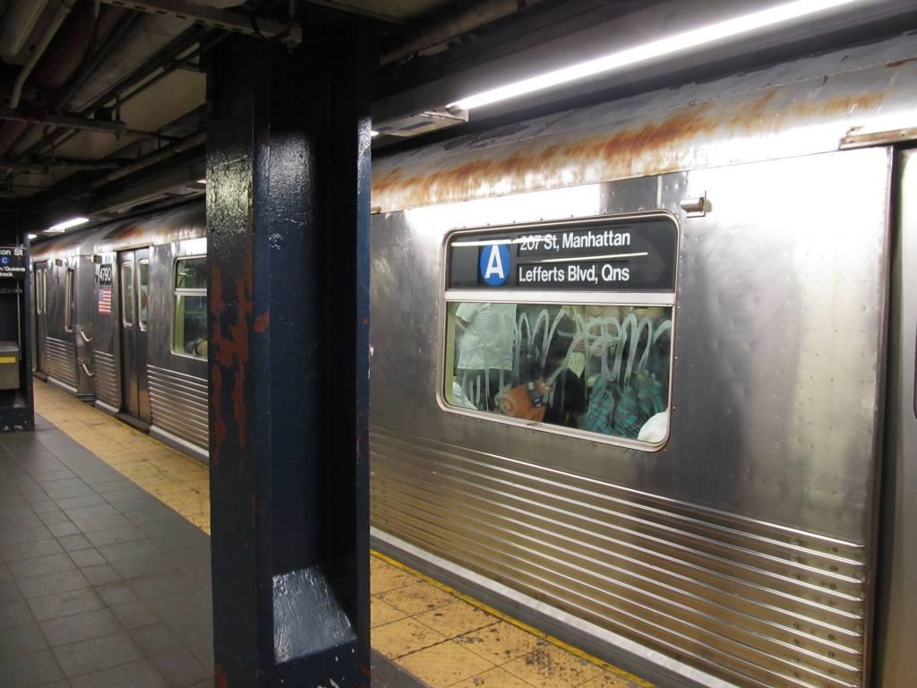 (106k, 1024x768)<br><b>Country:</b> United States<br><b>City:</b> New York<br><b>System:</b> New York City Transit<br><b>Line:</b> IND 8th Avenue Line<br><b>Location:</b> Fulton Street (Broadway/Nassau) <br><b>Route:</b> A<br><b>Car:</b> R-42 (St. Louis, 1969-1970)  4790 <br><b>Photo by:</b> Robbie Rosenfeld<br><b>Date:</b> 7/17/2012<br><b>Viewed (this week/total):</b> 4 / 1467