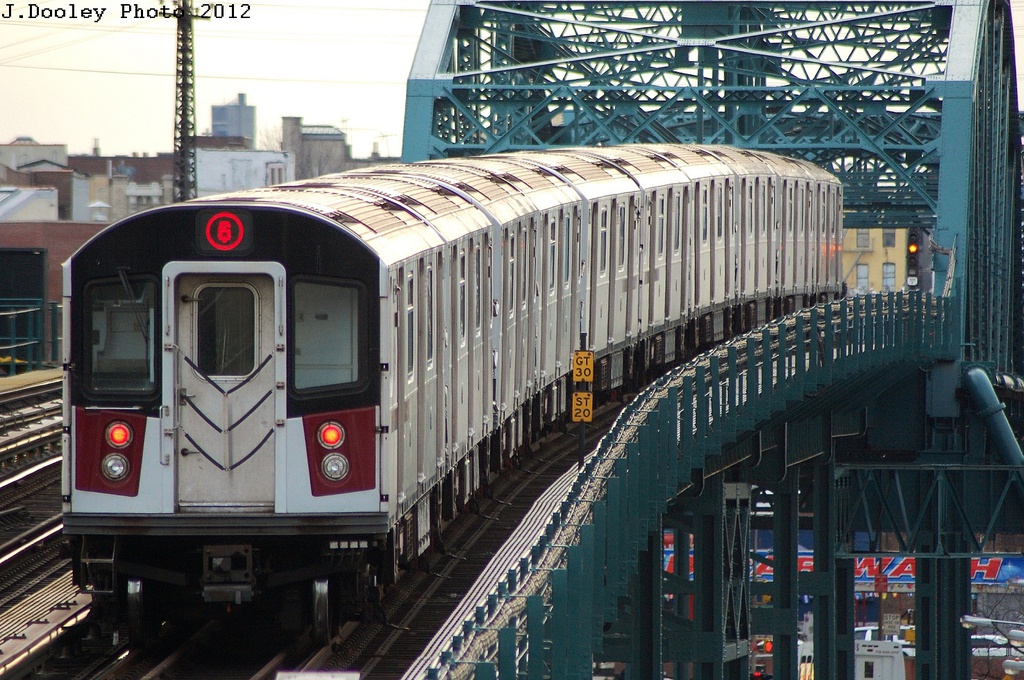 (390k, 1024x680)<br><b>Country:</b> United States<br><b>City:</b> New York<br><b>System:</b> New York City Transit<br><b>Line:</b> IRT Pelham Line<br><b>Location:</b> Elder Avenue <br><b>Route:</b> 6<br><b>Car:</b> R-142A (Option Order, Kawasaki, 2002-2003)  7626 <br><b>Photo by:</b> John Dooley<br><b>Date:</b> 2/22/2012<br><b>Viewed (this week/total):</b> 0 / 714