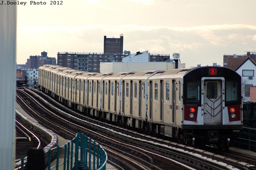 (318k, 1024x680)<br><b>Country:</b> United States<br><b>City:</b> New York<br><b>System:</b> New York City Transit<br><b>Line:</b> IRT Pelham Line<br><b>Location:</b> East 177th Street/Parkchester <br><b>Route:</b> 6<br><b>Car:</b> R-142 or R-142A (Number Unknown)  <br><b>Photo by:</b> John Dooley<br><b>Date:</b> 2/22/2012<br><b>Viewed (this week/total):</b> 0 / 785