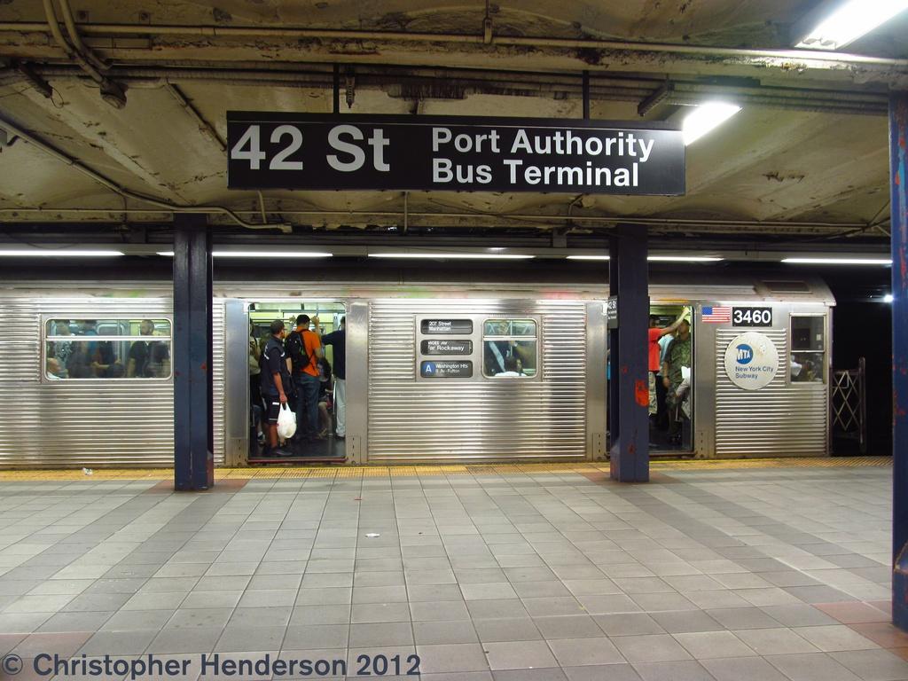 (286k, 1024x768)<br><b>Country:</b> United States<br><b>City:</b> New York<br><b>System:</b> New York City Transit<br><b>Line:</b> IND 8th Avenue Line<br><b>Location:</b> 42nd Street/Port Authority Bus Terminal <br><b>Route:</b> A<br><b>Car:</b> R-32 (Budd, 1964)  3460 <br><b>Photo by:</b> Christopher Henderson<br><b>Date:</b> 7/26/2012<br><b>Viewed (this week/total):</b> 1 / 2394