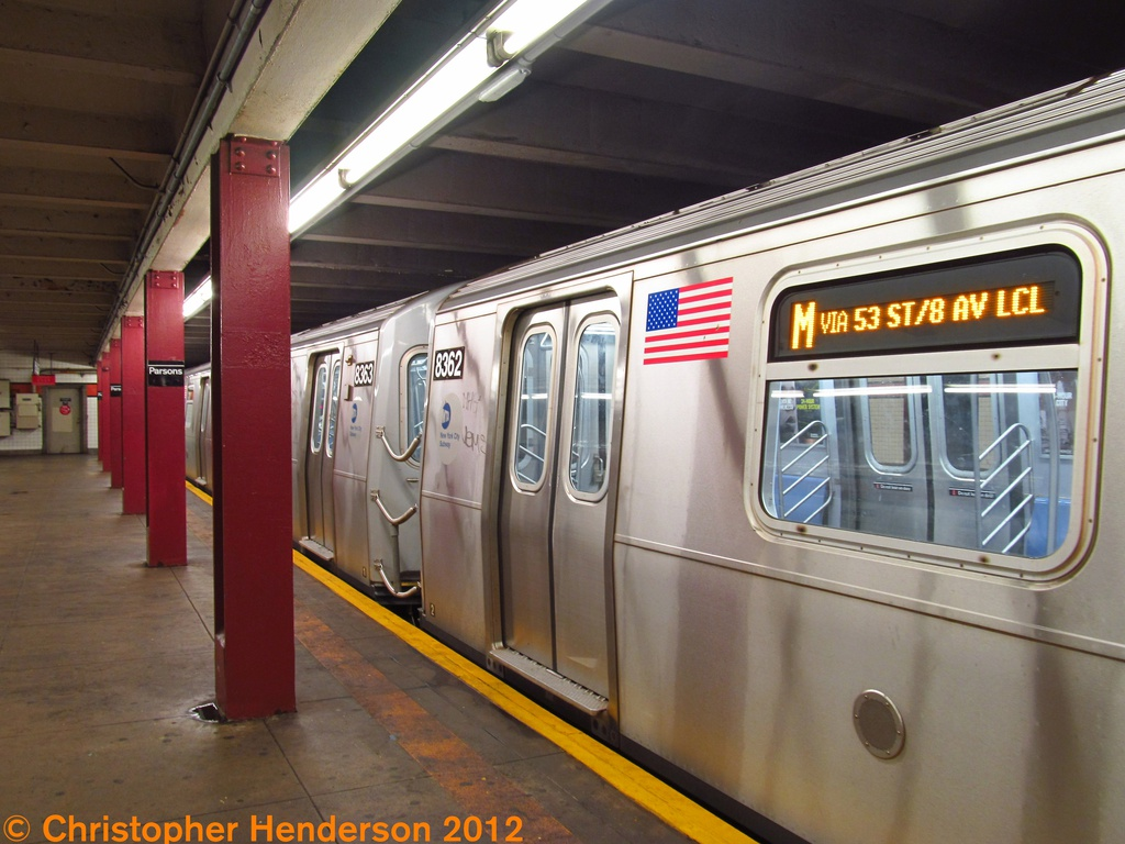 (266k, 1024x768)<br><b>Country:</b> United States<br><b>City:</b> New York<br><b>System:</b> New York City Transit<br><b>Line:</b> IND Queens Boulevard Line<br><b>Location:</b> Parsons Boulevard <br><b>Route:</b> M<br><b>Car:</b> R-160A-1 (Alstom, 2005-2008, 4 car sets)  8362 <br><b>Photo by:</b> Christopher Henderson<br><b>Date:</b> 8/1/2012<br><b>Viewed (this week/total):</b> 0 / 1579