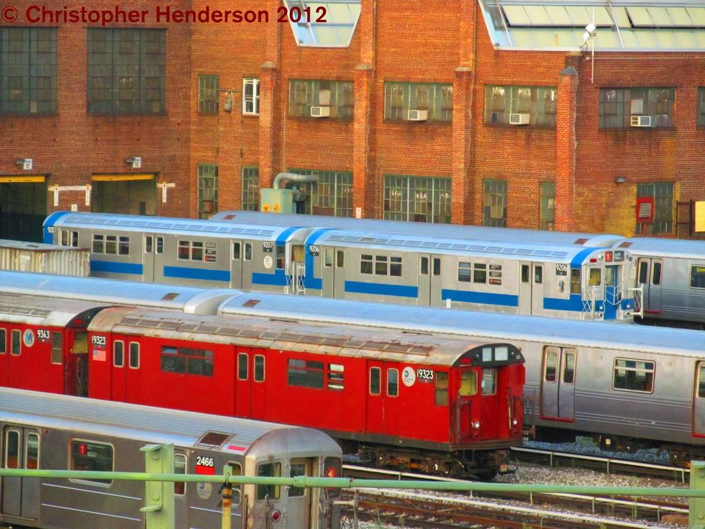 (339k, 1024x768)<br><b>Country:</b> United States<br><b>City:</b> New York<br><b>System:</b> New York City Transit<br><b>Location:</b> 207th Street Yard<br><b>Car:</b> R-33 Main Line (St. Louis, 1962-63) 9207/9206 <br><b>Photo by:</b> Christopher Henderson<br><b>Date:</b> 8/2/2012<br><b>Notes:</b> With R-33 WF 9323<br><b>Viewed (this week/total):</b> 1 / 2049
