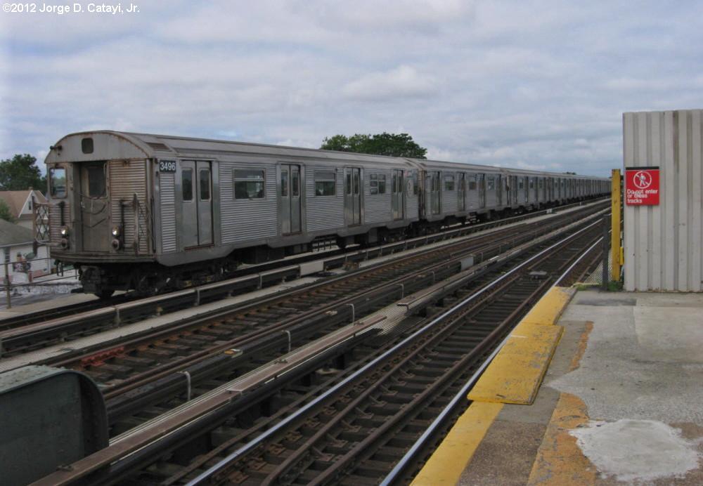 (171k, 1000x692)<br><b>Country:</b> United States<br><b>City:</b> New York<br><b>System:</b> New York City Transit<br><b>Line:</b> IND Fulton Street Line<br><b>Location:</b> Rockaway Boulevard <br><b>Route:</b> A<br><b>Car:</b> R-32 (Budd, 1964)  3496 <br><b>Photo by:</b> Jorge Catayi<br><b>Date:</b> 7/29/2012<br><b>Viewed (this week/total):</b> 3 / 721