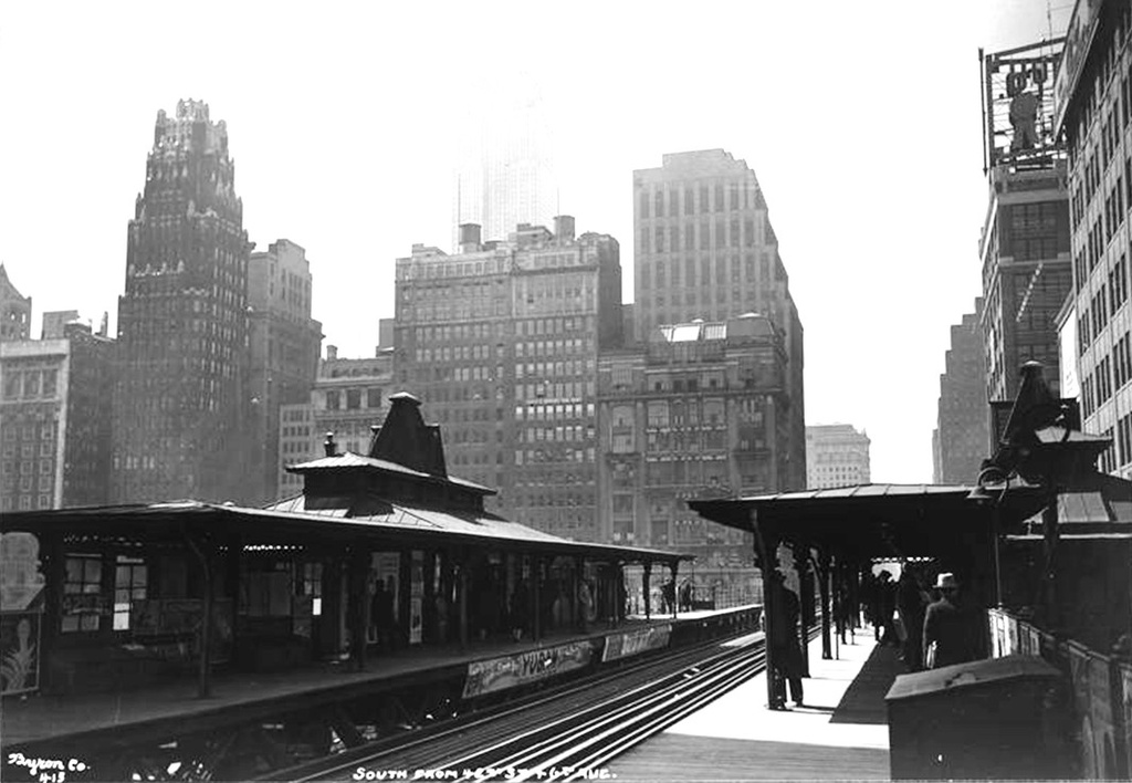 (184k, 1024x708)<br><b>Country:</b> United States<br><b>City:</b> New York<br><b>System:</b> New York City Transit<br><b>Line:</b> 6th Avenue El<br><b>Location:</b> 42nd Street <br><b>Collection of:</b> Frank Pfuhler<br><b>Date:</b> 1932<br><b>Viewed (this week/total):</b> 2 / 1059