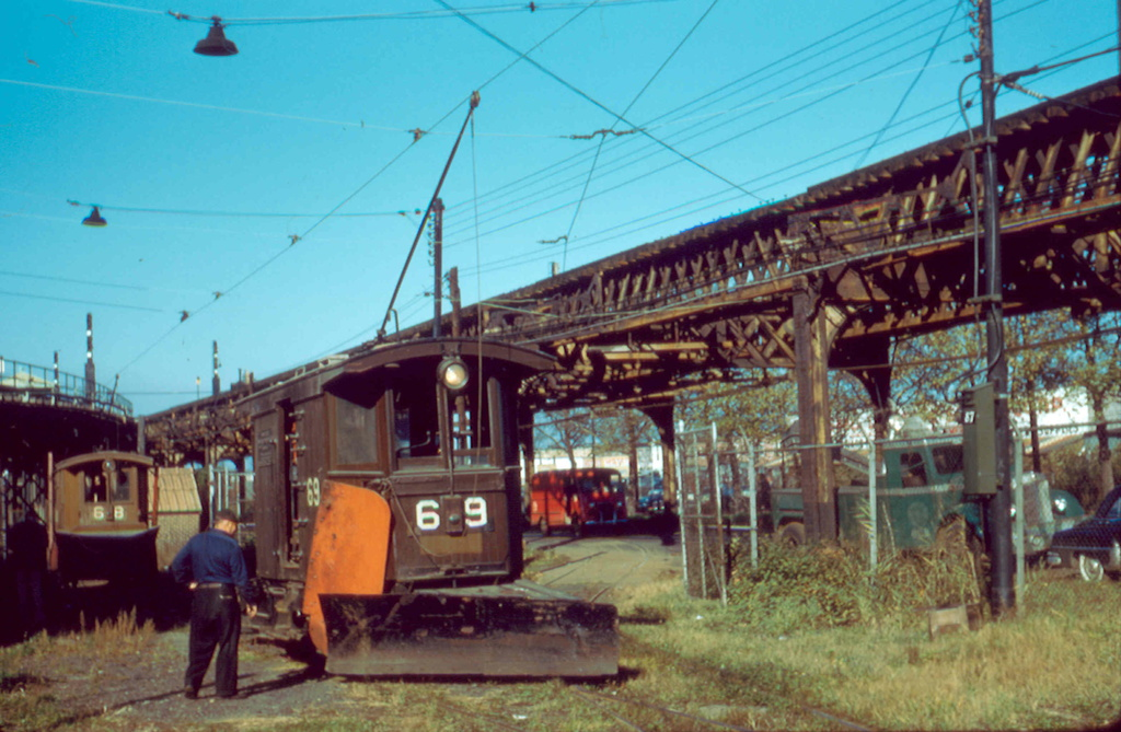 (282k, 1024x669)<br><b>Country:</b> United States<br><b>City:</b> New York<br><b>System:</b> New York City Transit<br><b>Location:</b> Coney Island Yard<br><b>Car:</b> Snow Plow 68 & 69 <br><b>Photo by:</b> Frank Pfuhler<br><b>Date:</b> 11/6/1956<br><b>Viewed (this week/total):</b> 2 / 1099