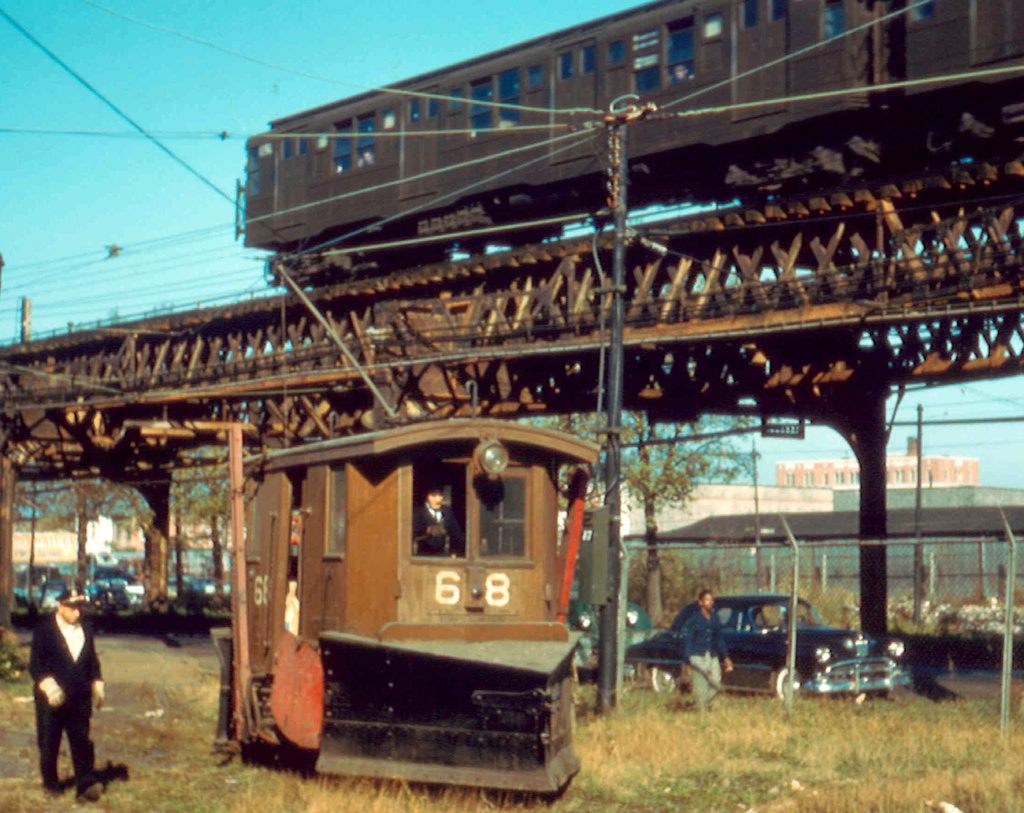 (344k, 1024x813)<br><b>Country:</b> United States<br><b>City:</b> New York<br><b>System:</b> New York City Transit<br><b>Location:</b> Coney Island Yard<br><b>Car:</b> Snow Plow 68 & 69 <br><b>Photo by:</b> Frank Pfuhler<br><b>Date:</b> 11/6/1956<br><b>Viewed (this week/total):</b> 0 / 1236