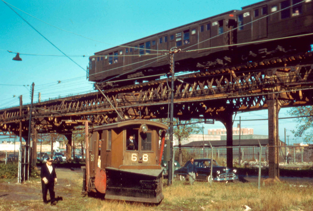 (307k, 1024x692)<br><b>Country:</b> United States<br><b>City:</b> New York<br><b>System:</b> New York City Transit<br><b>Location:</b> Coney Island Yard<br><b>Car:</b> Snow Plow 68 & 69 <br><b>Photo by:</b> Frank Pfuhler<br><b>Date:</b> 11/6/1956<br><b>Viewed (this week/total):</b> 5 / 1125