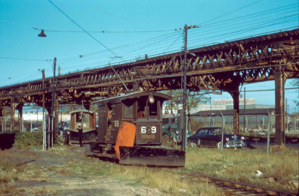 (280k, 1024x672)<br><b>Country:</b> United States<br><b>City:</b> New York<br><b>System:</b> New York City Transit<br><b>Location:</b> Coney Island Yard<br><b>Car:</b> Snow Plow 68 & 69 <br><b>Photo by:</b> Frank Pfuhler<br><b>Date:</b> 11/6/1956<br><b>Viewed (this week/total):</b> 4 / 867