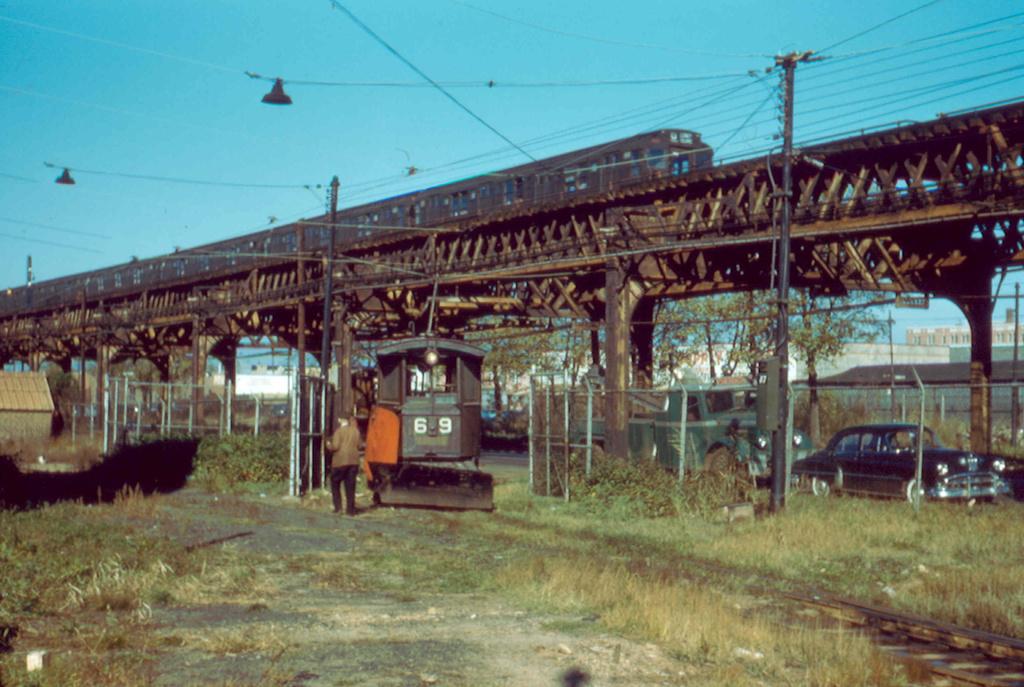 (289k, 1024x687)<br><b>Country:</b> United States<br><b>City:</b> New York<br><b>System:</b> New York City Transit<br><b>Location:</b> Coney Island Yard<br><b>Car:</b> Snow Plow 69 <br><b>Photo by:</b> Frank Pfuhler<br><b>Date:</b> 11/6/1956<br><b>Viewed (this week/total):</b> 1 / 1058