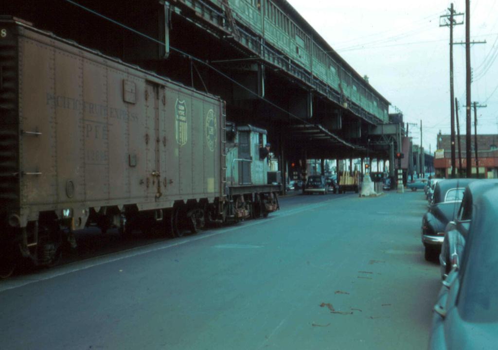 (201k, 1024x720)<br><b>Country:</b> United States<br><b>City:</b> New York<br><b>System:</b> New York City Transit<br><b>Line:</b> South Brooklyn Railway<br><b>Location:</b> McDonald Avenue (SBK)<br><b>Car:</b> SBK Steeplecab 6 <br><b>Photo by:</b> Frank Pfuhler<br><b>Date:</b> 10/24/1956<br><b>Viewed (this week/total):</b> 2 / 1315