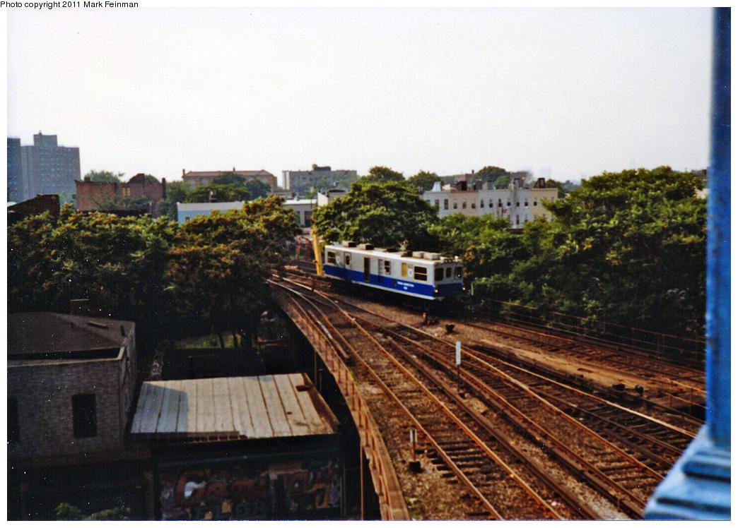 (372k, 1044x748)<br><b>Country:</b> United States<br><b>City:</b> New York<br><b>System:</b> New York City Transit<br><b>Location:</b> East New York Yard/Shops<br><b>Car:</b> Track Geometry Car  <br><b>Photo by:</b> Mark S. Feinman<br><b>Date:</b> 1989<br><b>Viewed (this week/total):</b> 5 / 1094