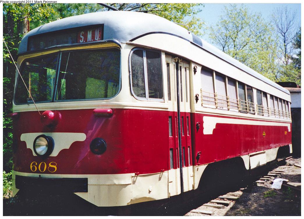 (437k, 1044x752)<br><b>Country:</b> United States<br><b>City:</b> Kennebunk, ME<br><b>System:</b> Seashore Trolley Museum <br><b>Car:</b> Dallas Railway & Terminal PCC Double End (Pullman-Standard, 1945)  608 <br><b>Photo by:</b> Mark S. Feinman<br><b>Date:</b> 1994<br><b>Viewed (this week/total):</b> 0 / 552