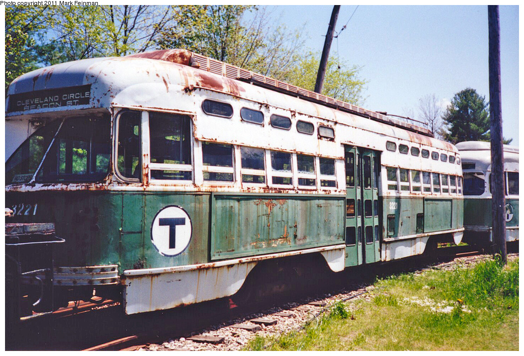 (486k, 1044x708)<br><b>Country:</b> United States<br><b>City:</b> Kennebunk, ME<br><b>System:</b> Seashore Trolley Museum <br><b>Car:</b> MBTA/BSRy PCC Post-War All Electric (Pullman-Standard, 1946)  3221 <br><b>Photo by:</b> Mark S. Feinman<br><b>Date:</b> 1994<br><b>Viewed (this week/total):</b> 2 / 770