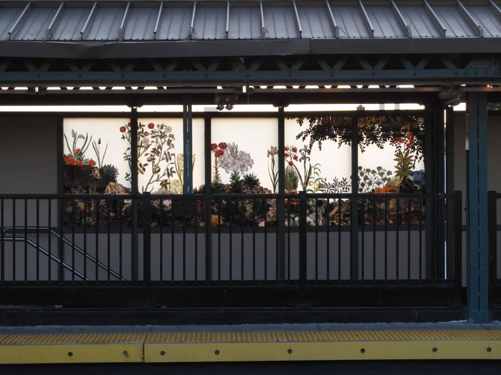 (108k, 1024x768)<br><b>Country:</b> United States<br><b>City:</b> New York<br><b>System:</b> New York City Transit<br><b>Line:</b> BMT West End Line<br><b>Location:</b> 18th Avenue <br><b>Photo by:</b> Robbie Rosenfeld<br><b>Date:</b> 8/13/2012<br><b>Artwork:</b> <i>Bensonhurst Gardens</i>, Francesco Simeti (2012).<br><b>Viewed (this week/total):</b> 0 / 947