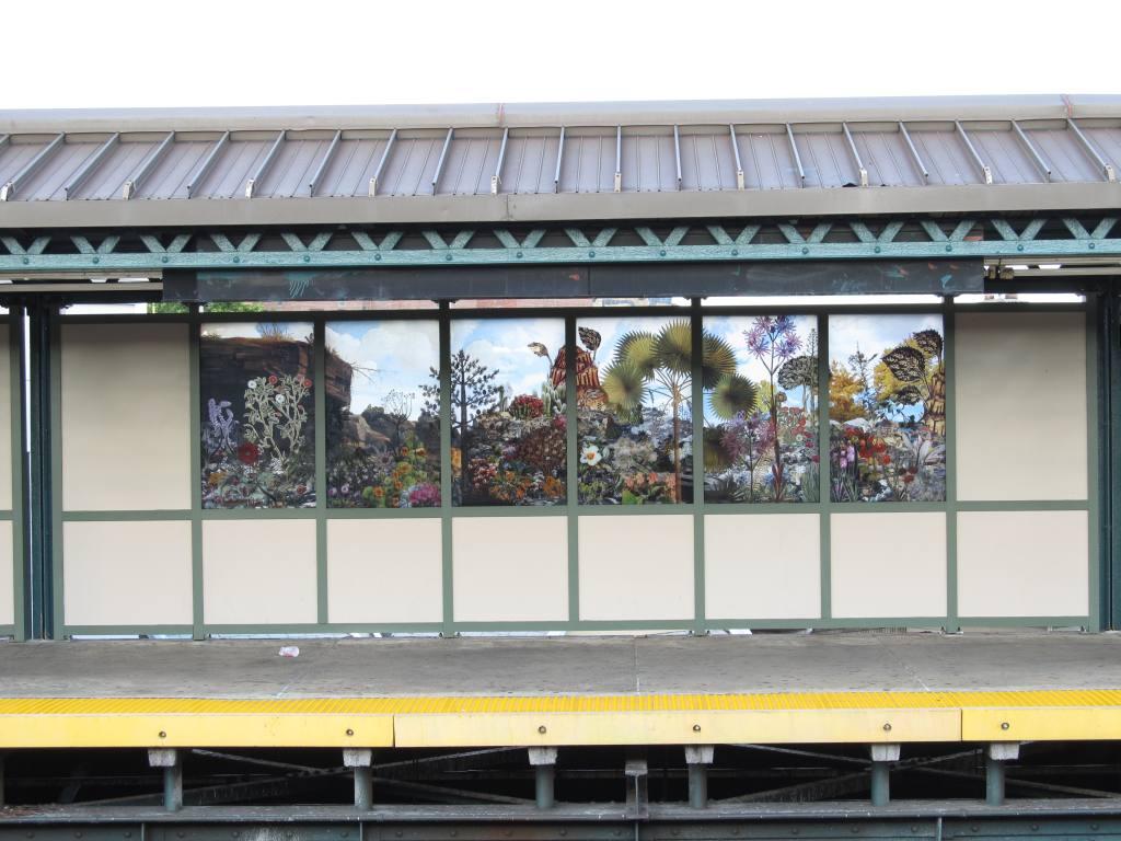 (115k, 1024x768)<br><b>Country:</b> United States<br><b>City:</b> New York<br><b>System:</b> New York City Transit<br><b>Line:</b> BMT West End Line<br><b>Location:</b> 18th Avenue <br><b>Photo by:</b> Robbie Rosenfeld<br><b>Date:</b> 8/13/2012<br><b>Artwork:</b> <i>Bensonhurst Gardens</i>, Francesco Simeti (2012).<br><b>Viewed (this week/total):</b> 0 / 1163