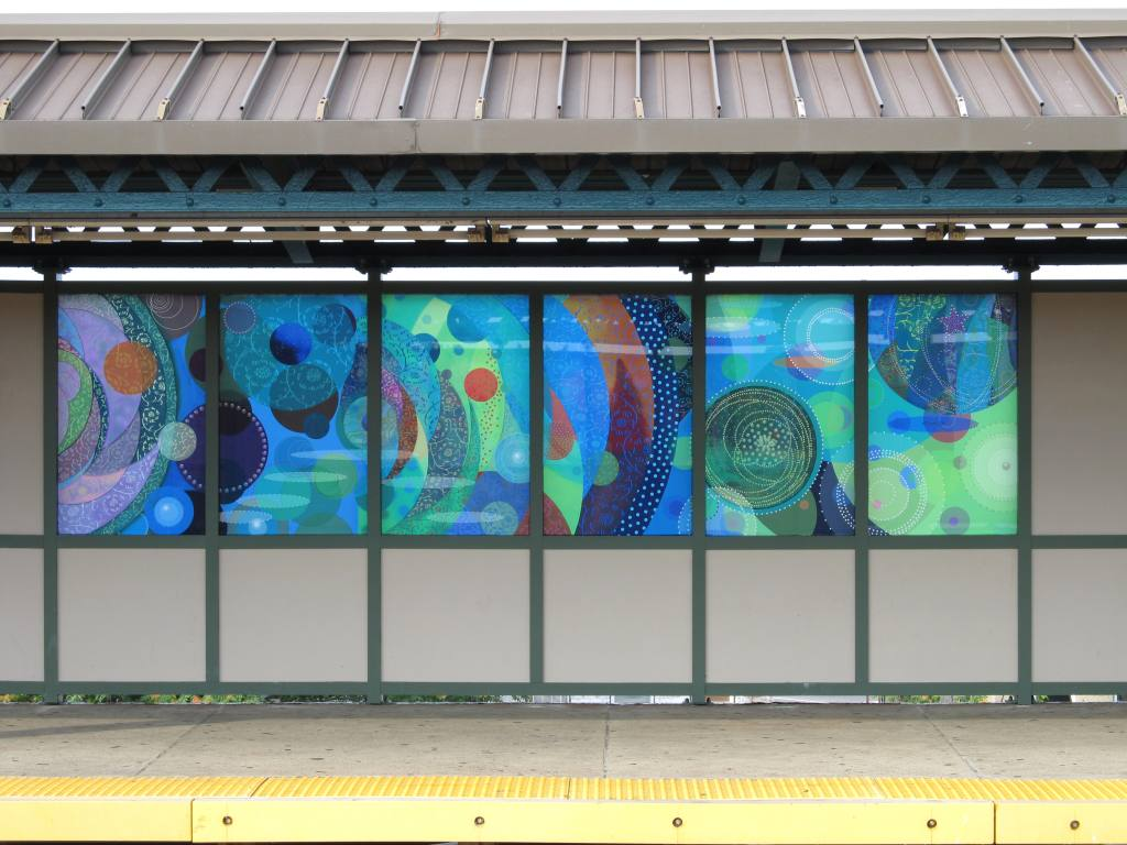 (133k, 1024x768)<br><b>Country:</b> United States<br><b>City:</b> New York<br><b>System:</b> New York City Transit<br><b>Line:</b> BMT West End Line<br><b>Location:</b> 25th Avenue <br><b>Photo by:</b> Robbie Rosenfeld<br><b>Date:</b> 8/5/2012<br><b>Artwork:</b> <i>Rediscovery</i>, Amy Cheng (2012).<br><b>Viewed (this week/total):</b> 6 / 1222