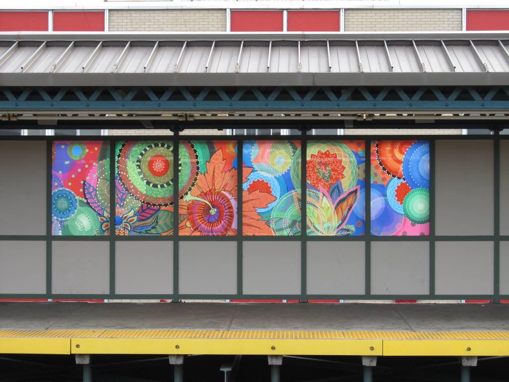 (117k, 1024x768)<br><b>Country:</b> United States<br><b>City:</b> New York<br><b>System:</b> New York City Transit<br><b>Line:</b> BMT West End Line<br><b>Location:</b> 25th Avenue <br><b>Photo by:</b> Robbie Rosenfeld<br><b>Date:</b> 8/7/2012<br><b>Artwork:</b> <i>Rediscovery</i>, Amy Cheng (2012).<br><b>Viewed (this week/total):</b> 0 / 972