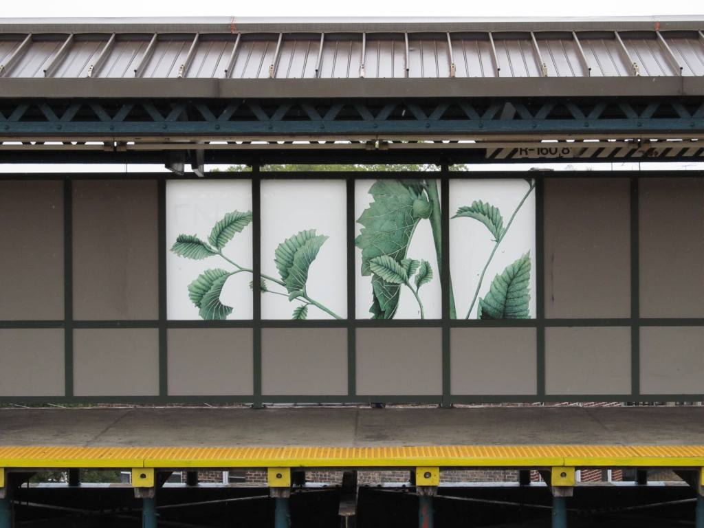 (97k, 1024x768)<br><b>Country:</b> United States<br><b>City:</b> New York<br><b>System:</b> New York City Transit<br><b>Line:</b> BMT West End Line<br><b>Location:</b> 71st Street <br><b>Photo by:</b> Robbie Rosenfeld<br><b>Date:</b> 8/14/2012<br><b>Artwork:</b> <i>The Flora of Bensonhurst</i>, Joan Linder (2012).<br><b>Viewed (this week/total):</b> 3 / 1065