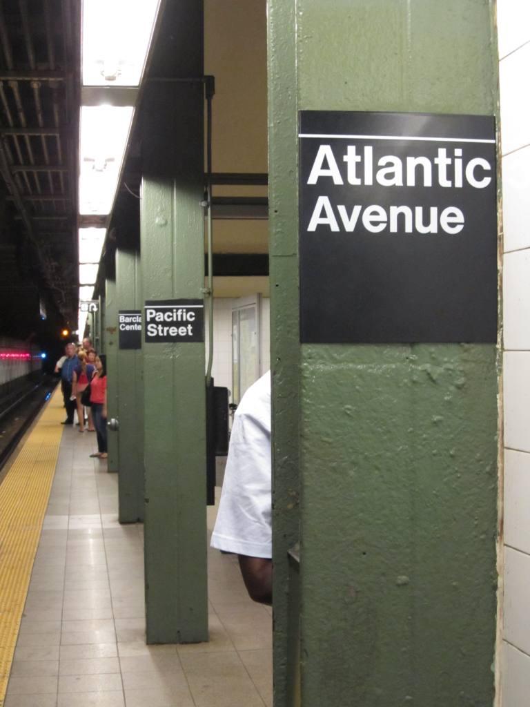 (93k, 768x1024)<br><b>Country:</b> United States<br><b>City:</b> New York<br><b>System:</b> New York City Transit<br><b>Line:</b> BMT Brighton Line<br><b>Location:</b> Atlantic Avenue <br><b>Photo by:</b> Robbie Rosenfeld<br><b>Date:</b> 7/31/2012<br><b>Notes:</b> Three signs...<br><b>Viewed (this week/total):</b> 2 / 898