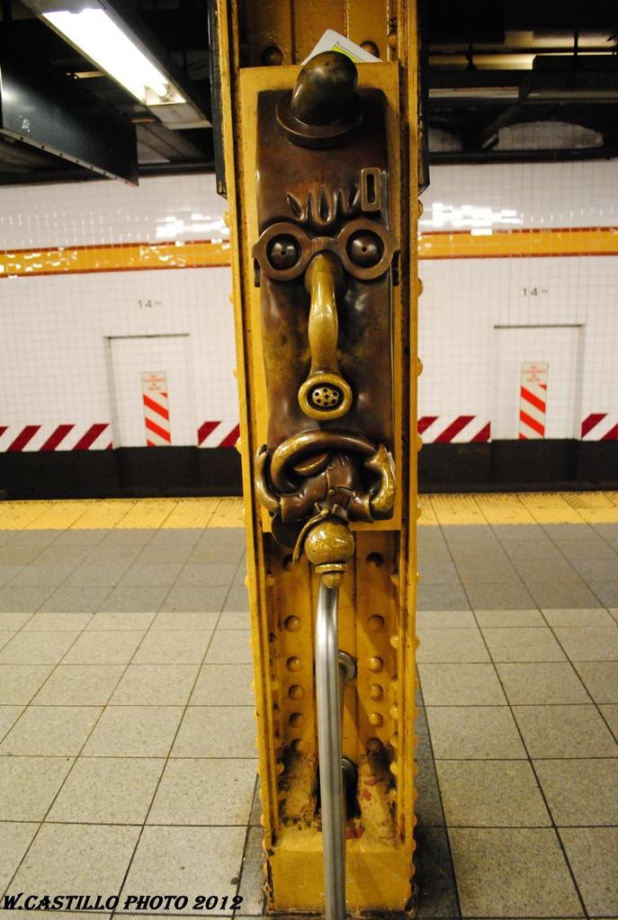 (288k, 687x1023)<br><b>Country:</b> United States<br><b>City:</b> New York<br><b>System:</b> New York City Transit<br><b>Line:</b> IND 8th Avenue Line<br><b>Location:</b> 14th Street <br><b>Photo by:</b> Wilfredo Castillo<br><b>Date:</b> 3/27/2012<br><b>Artwork:</b> <i>Life Underground</i>, Tom Otterness (2000).<br><b>Viewed (this week/total):</b> 1 / 1547