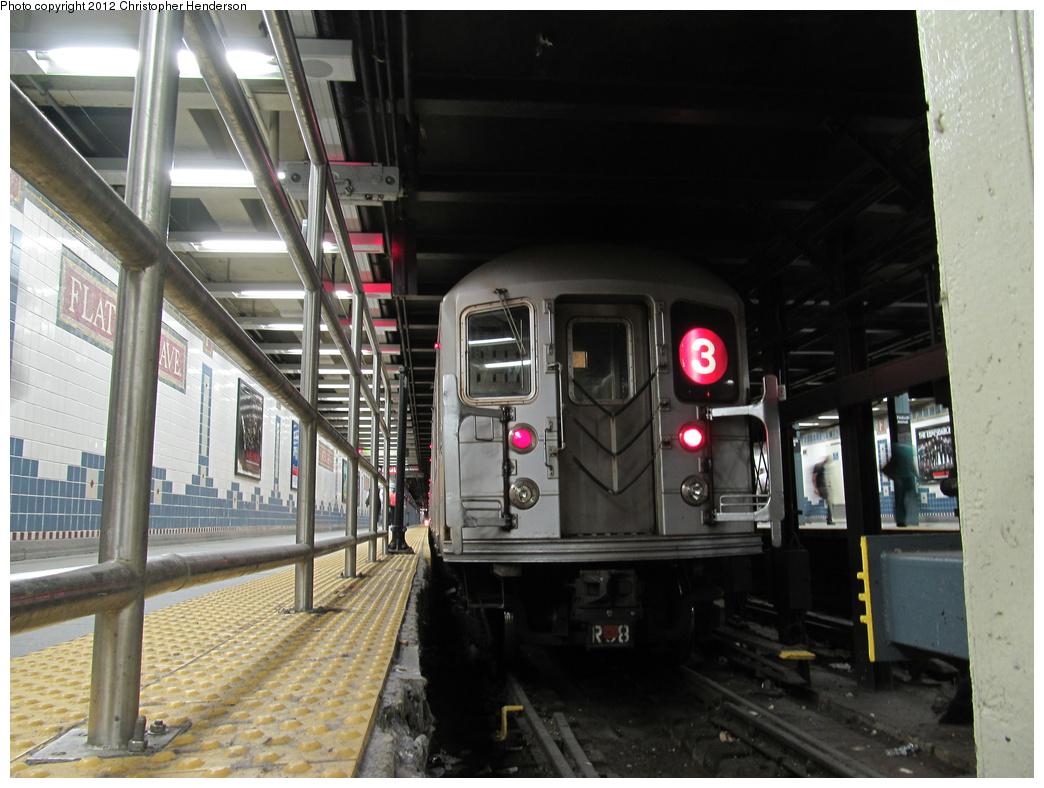 (308k, 1044x788)<br><b>Country:</b> United States<br><b>City:</b> New York<br><b>System:</b> New York City Transit<br><b>Line:</b> IRT Brooklyn Line<br><b>Location:</b> Flatbush Avenue <br><b>Route:</b> 3<br><b>Car:</b> R-62 (Kawasaki, 1983-1985)   <br><b>Photo by:</b> Christopher Henderson<br><b>Date:</b> 8/19/2012<br><b>Viewed (this week/total):</b> 0 / 1825