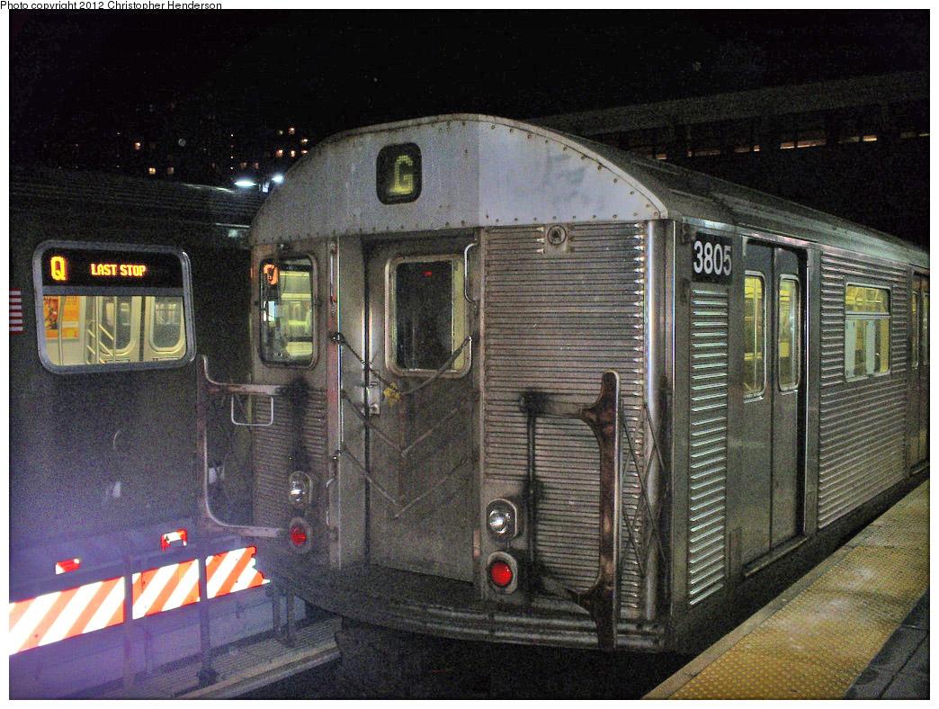 (288k, 1044x788)<br><b>Country:</b> United States<br><b>City:</b> New York<br><b>System:</b> New York City Transit<br><b>Location:</b> Coney Island/Stillwell Avenue<br><b>Route:</b> G<br><b>Car:</b> R-32 (Budd, 1964)  3805 <br><b>Photo by:</b> Christopher Henderson<br><b>Date:</b> 1/16/2009<br><b>Viewed (this week/total):</b> 2 / 949