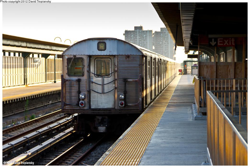 (390k, 1044x702)<br><b>Country:</b> United States<br><b>City:</b> New York<br><b>System:</b> New York City Transit<br><b>Line:</b> IND Rockaway<br><b>Location:</b> Beach 44th Street/Frank Avenue <br><b>Route:</b> A<br><b>Car:</b> R-32 (Budd, 1964)   <br><b>Photo by:</b> David Tropiansky<br><b>Date:</b> 7/27/2012<br><b>Viewed (this week/total):</b> 1 / 949