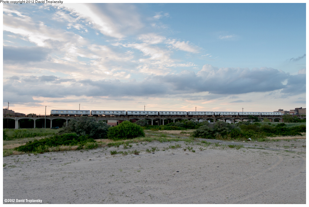 (310k, 1044x702)<br><b>Country:</b> United States<br><b>City:</b> New York<br><b>System:</b> New York City Transit<br><b>Line:</b> IND Rockaway<br><b>Location:</b> Beach 44th Street/Frank Avenue <br><b>Route:</b> A<br><b>Car:</b> R-46 (Pullman-Standard, 1974-75)  <br><b>Photo by:</b> David Tropiansky<br><b>Date:</b> 7/27/2012<br><b>Viewed (this week/total):</b> 0 / 835